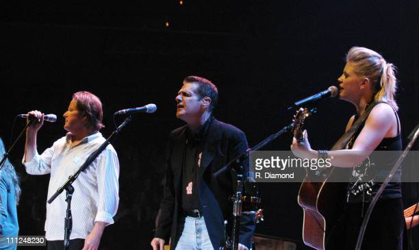 Don Henley Glenn Frey and Natalie Maines during The Eagles and Dixie Chicks Benefit for Recording Artists Coalition at MCI Center in Washington DC...