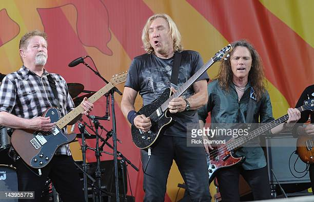 Don Henley Joe Walsh and Timothy B Schmit of the Eagles perform during the 2012 New Orleans Jazz Heritage Festival Day 6 at the Fair Grounds Race...