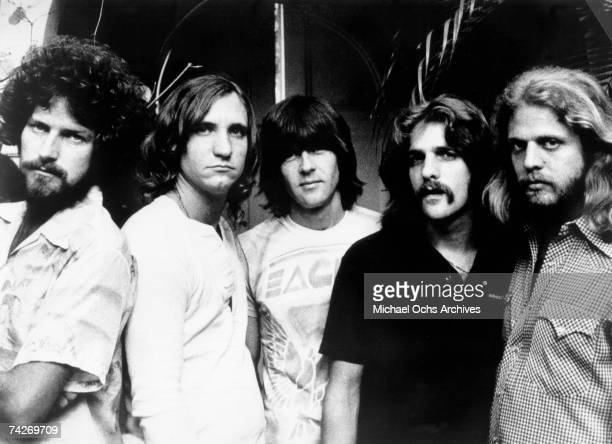 "Don Henley, Joe Walsh, Randy Meisner, Glenn Frey and Don Felder of the rock band ""Eagles"" pose for a portrait in 1977."