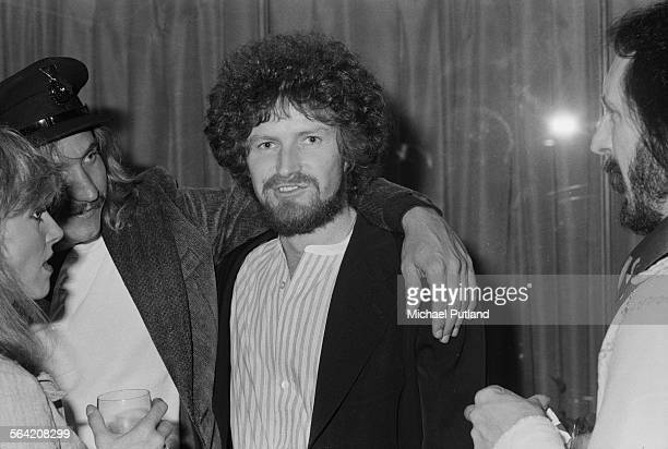 Don Henley of American rock group The Eagles with bandmate Joe Walsh and bassist John Entwistle of The Who at a party given by the American band 26th...