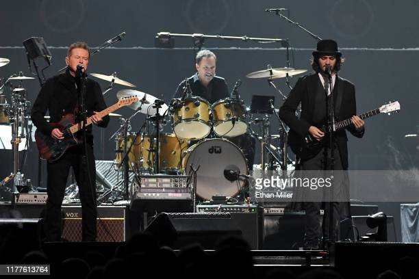 Don Henley of the Eagles performs with Scott F Crago and Deacon Frey at MGM Grand Garden Arena on September 27 2019 in Las Vegas Nevada