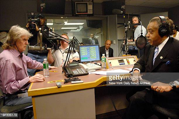 Don Imus appears on the Rev Al Sharpton's radio show at ABC studios to answer to comments he made about the Rutgers University women's basketball...