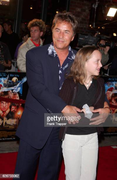 """Don Johnson and daughter Dakota at the premiere of """"Harry Potter and the Sorcerer's Stone."""""""