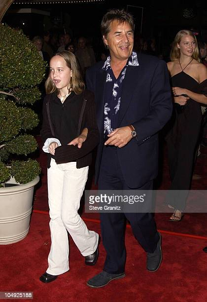 Don Johnson and daughter Dakota during Harry Potter and The Sorcerer's Stone Los Angeles Premiere at Mann Village Theatre in Westwood California...