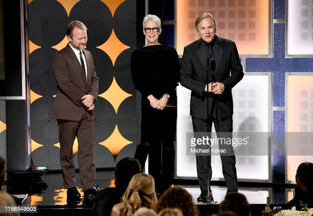 Don Johnson and Jamie Lee Curtis accept Best Ensemble for 'Knives Out' from Rian Johnson onstage during AARP The Magazine's 19th Annual Movies For...