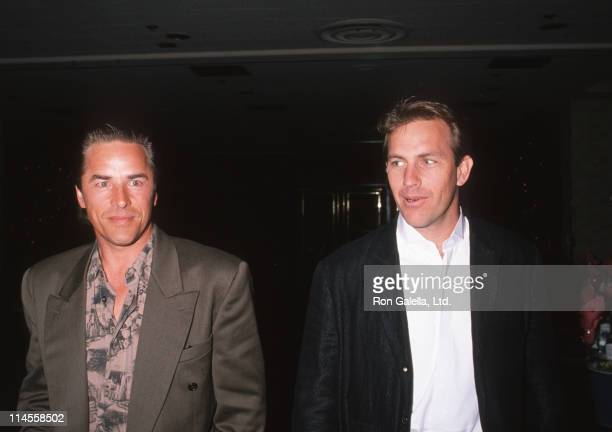 Don Johnson and Kevin Costner during ShoWest Luncheon February 6 1990 at Bally's Hotel and Casino in Las Vegas Nevada United States