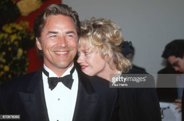 Don Johnson and Melanie Griffiths at an event April 29, 1989 Hollywood, Los Angeles, California