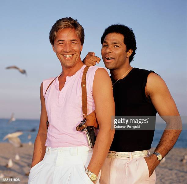 Don Johnson and Phillip Michael Thomas on the set of Miami Vice