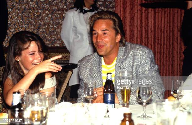 Don Johnson at the Aspen Tennis Festival relaxes with a beer after playing tennis on August 23, 1987 at Aspen, Colorado
