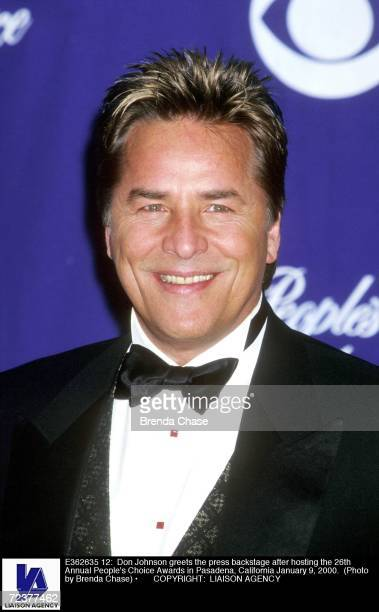 Don Johnson greets the press backstage after hosting the 26th Annual People's Choice Awards in Pasadena California January 9 2000