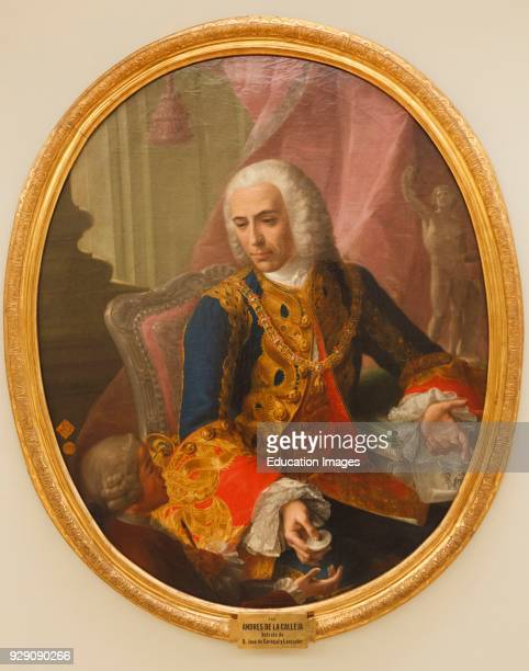 Don Jose de Carvajal y Lancaster with the boy Mariano Sanchez Carvajal 1698 1754 was a Spanish diplomat After a painting by Andres de la Calleja in...