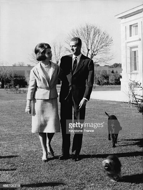 Don Juan Carlos and his wife Sofia of Greece taking a walk with their dogs in the park of their house on May 25 1965 in Madrid Spain