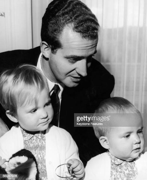 Don Juan Carlos future King of Spain with his two daughters Princess Elena and Princess Cristina on the occasion of Cristina's first birthday 13th...