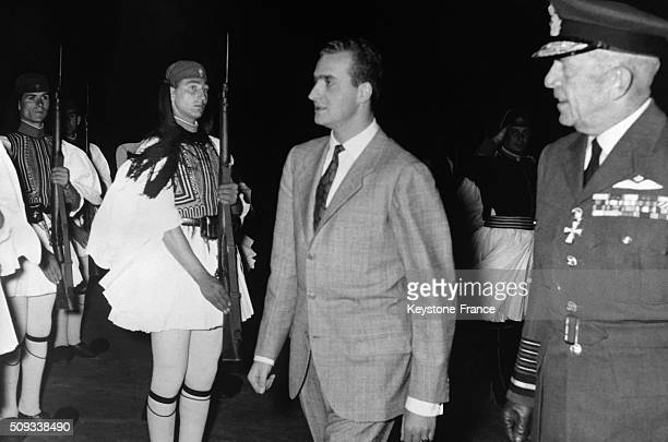 Don Juan Carlos Of Spain Arrives In Athens Where He Will Marry Princess Sophie Of Greece And Is Welcomed By King Paul Of Greece in Athens Greece on...