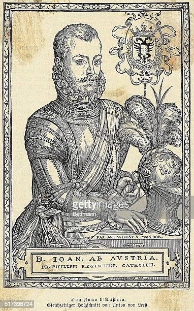Don Juan D'Austria Spanish General 16th century 15471578 Leader of the Navy during the battle of Lepanto Woodcut by E Van Leest