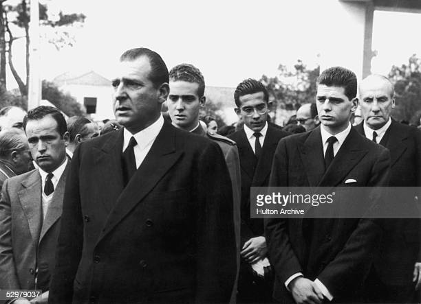 Don Juan de Borbon , pretender to the Spanish throne, attends the funeral of his youngest son, Don Alfonso de Bourbon, in Cascais, 2nd April 1956....