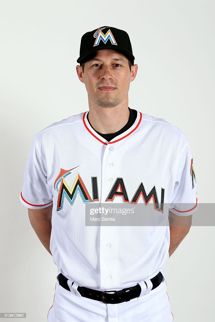 Don Kelly of the Miami Marlins poses for photos on media day at Roger Dean Stadium on February 24, 2016 in Jupiter, Florida.