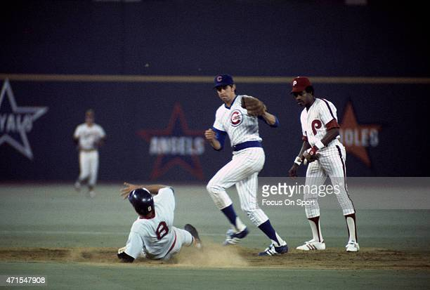Don Kessinger of the Chicago Cubs and the National League AllStars takes the throw down at second base on an attempted steal by Carl Yastrzemski of...