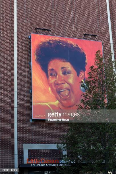 Don Kilpatrick's mural of singer Aretha Franklin hangs outside Little Caesars Arena home of the Detroit Red Wings hockey team and Detroit Pistons...