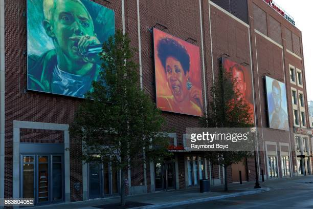 Don Kilpatrick's murals of rapper Eminem singer Aretha Franklin former hockey player Gordie Howe and former boxer Joe Louis hangs outside Little...