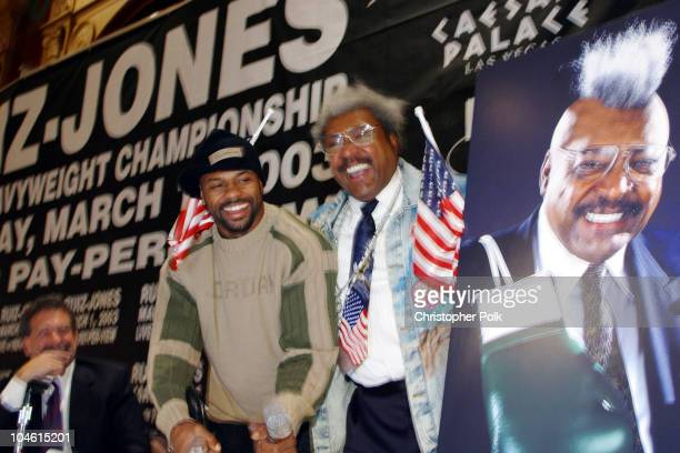 Don King and Roy Jones Jr during John Ruiz vs Roy Jones Jr Press Conference at Millennium Biltmore Hotel in Los Angeles CA United States