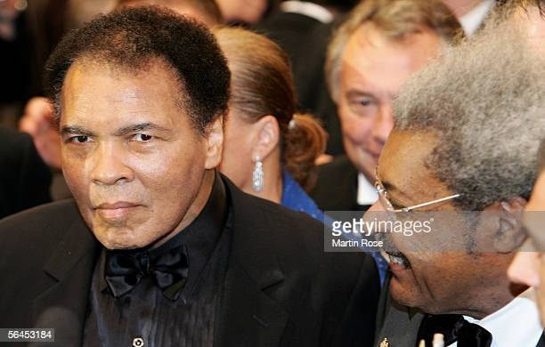 Don King boxing promoter and former boxing champion Muhammad Ali seen during the Super Middleweight fight between Laila Ali v Asa Maria Sandell at...