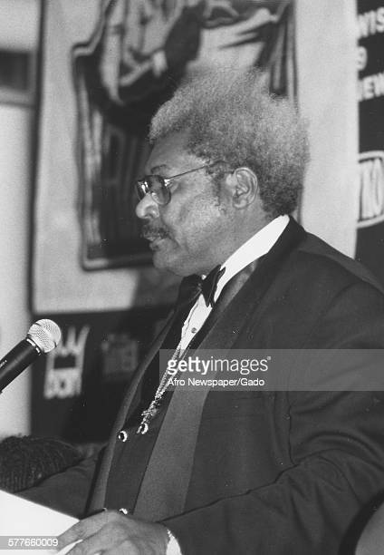 Don King during a press conference for the Evander Holyfield vs Lennox Lewis boxing match, 1999.