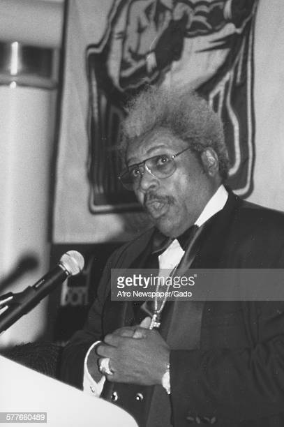 Don King during a press conference for the Evander Holyfield vs Lennox Lewis boxing match 1999