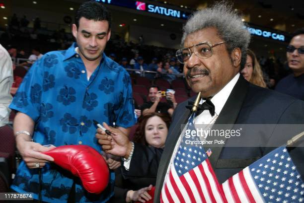 Don King joins the crowd of spectators before a 12 round WBA Super Lightweight Championship held at The Orleans Arena in Las Vegas NV on Saturday...