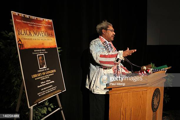 Don King makes a few remarks at the 'Black November' film screening at The Library of Congress on February 29 2012 in Washington DC