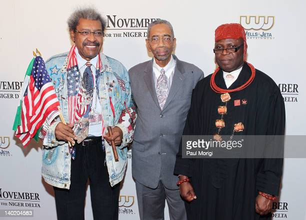 Don King Rep Bobby Rush and King Frank Okurakpo attend the 'Black November' film screening at The Library of Congress on February 29 2012 in...