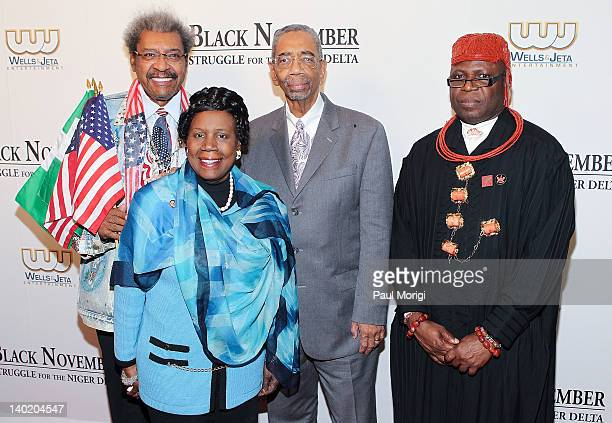 Don King Rep Shiela Jackson Lee Rep Bobby Rush and King Frank Okurakpo attend the 'Black November' film screening at The Library of Congress on...