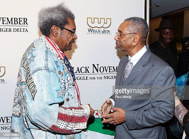 Don King talks with Rep Bobby Rush at the 'Black November' film screening at The Library of Congress on February 29 2012 in Washington DC