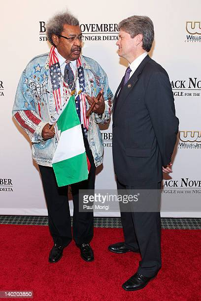 Don King talks with Rep Jeff Fortenberry at the 'Black November' film screening at The Library of Congress on February 29 2012 in Washington DC