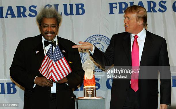 Don King with Master of Ceremonies Donald Trump prior to King's celebrity roast at the New York Hilton in New York City
