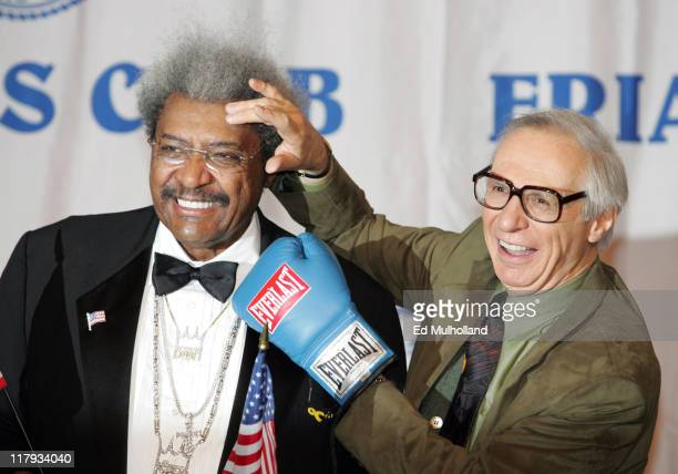 Don King with The Amazing Kreskin prior to King's celebrity roast at the New York Hilton in New York City