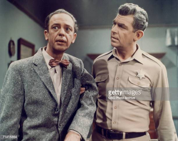 Don Knotts as Deputy Barney Fife and Andy Griffith as Sheriff Andy Taylor in a scene from the television series 'The Andy Griffith Show' circa 1965