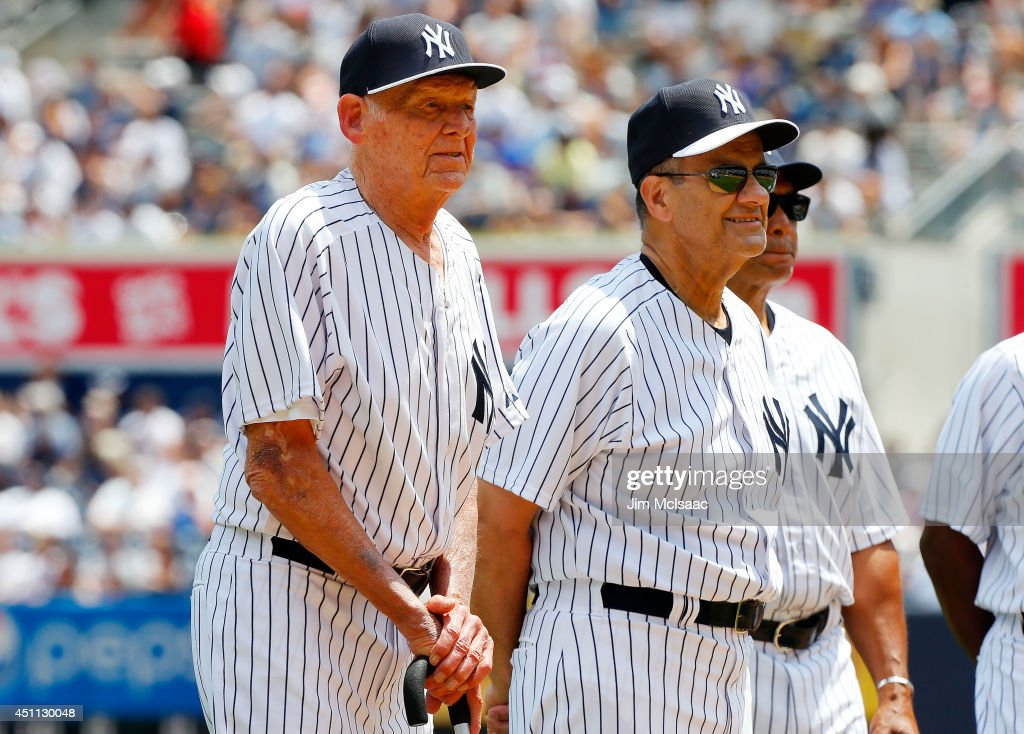 Don Larsen and Joe Torre (R) participate during the New York Yankees Old Timers Day prior to a game between the Yankees and the Baltimore Orioles at Yankee Stadium on June 22, 2014 in the Bronx borough of New York City. The Orioles defeated the Yankees 8-0.