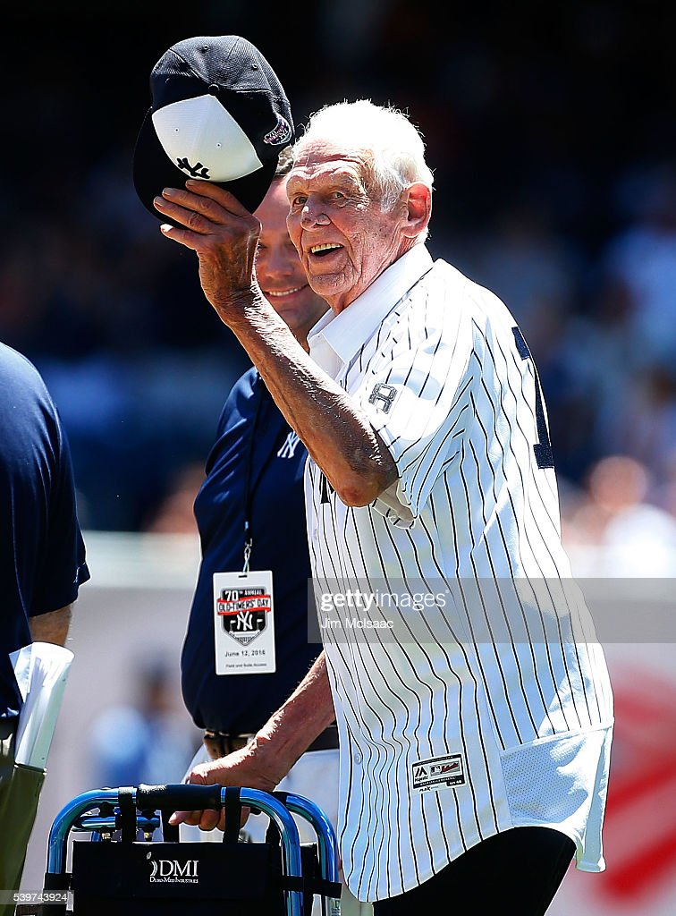 Don Larsen is introduced during the New York Yankees 70th Old Timers Day game before the Yankees play against the Detroit Tigers at Yankee Stadium on June 12, 2016 in the Bronx borough of New York City.