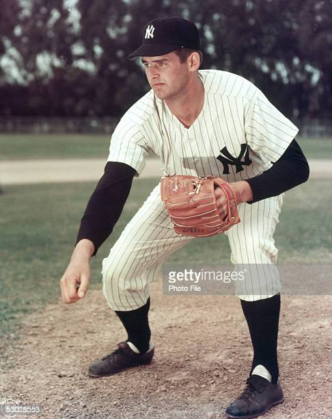 Don Larsen of the New York Yankees poses for an action portrait before a season game Don Larsen played for the New York Yankees from 19531959