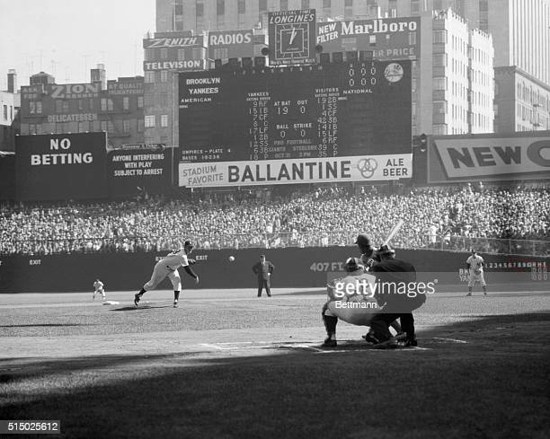Don Larsen pitches for the New York Yankees in Game 5 of the 1956 World Series against the Brooklyn Dodgers on October 8 1956 Larsen no hit the...