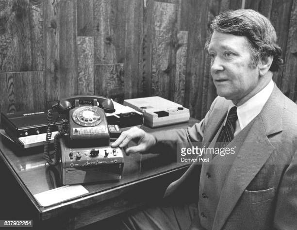 Don Larson Shows a 1961 TelephoneAnswering Machine On table at rear are three morecompact moresophisticated new models Credit Denver Post