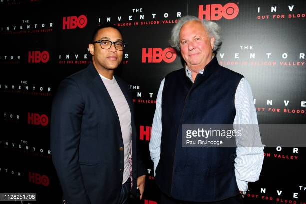Don Lemon and Graydon Carter attend HBO Hosts The Premiere Of The Inventor Out For Blood In Silicon Valley at Warner Media Screening Room on February...