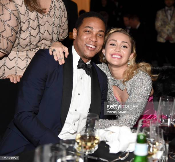Don Lemon and Miley Cyrus attend the 26th annual Elton John AIDS Foundation Academy Awards Viewing Party sponsored by Bulgari celebrating EJAF and...