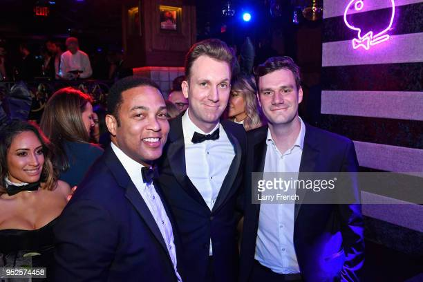 Don Lemon Jordan Klepper and Playboy Enterprises Chief Creative Officer Cooper Hefner attend the Playboy Presents No Tie Party at The Living Room on...