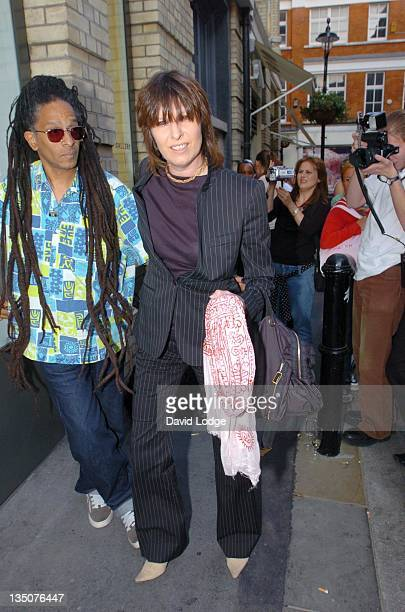 Don Letts and Chrissie Hynde during Taryn Simon: The Innocents - Private View at Gagosian Gallery in London.