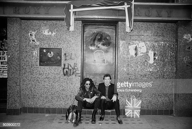 Don Letts and club promoter Andrew Czezowski outside punk club The Roxy, Covent Garden, London, 28th March 1977. The Roxy, which had been...
