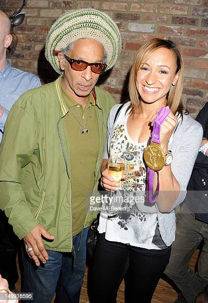 Don Letts and Olympic Gold Medalist Jessica Ennis attend as The Stone Roses perform a secret gig at adidas Underground on August 6, 2012 in London,...
