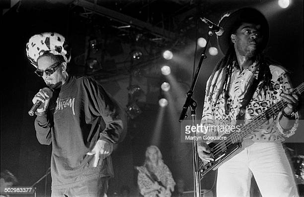 Don Letts performs on stage with reggae band Screaming Target, United Kingdom, November 1990.
