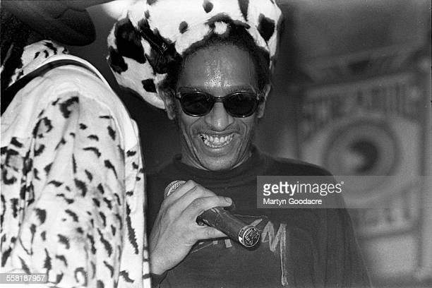 Don Letts performs on stage with Screaming Target, Rennes, United Kingdom, 1990.